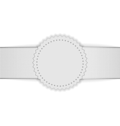 Realistic white blank badge on ribbon vector