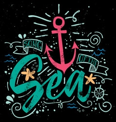 Sea print t-shirts for summer vector