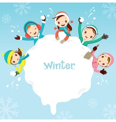 Children playing snow together around snowdrift vector