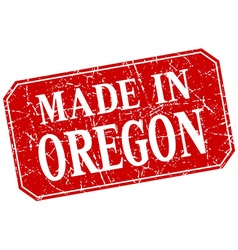 Made in oregon red square grunge stamp vector