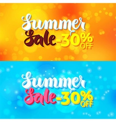 Summer sale web banners over abstract blurred vector