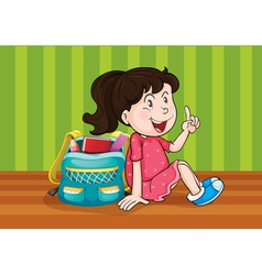 a girl with schoolbag vector image vector image