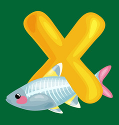 Animals alphabet for kids fish letter x cartoon vector