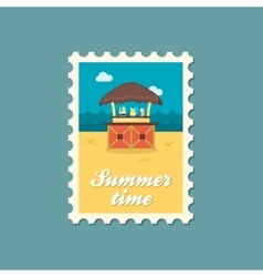Cafe Bar bungalows on the beach stamp Vacation vector image vector image