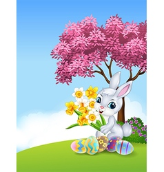 Cartoon bunny holding flower with colourful Easter vector image