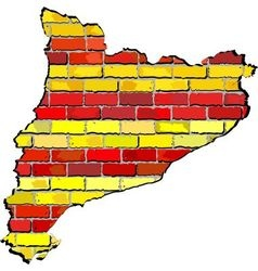Catalonia map on a brick wall vector