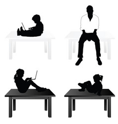 children and man siting on table vector image vector image