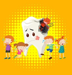 Children crying from tooth decay vector
