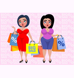 colorful plus size fashion template vector image vector image