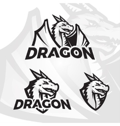Dragons sport mascot college league insignia vector