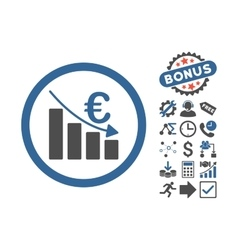 Euro recession flat icon with bonus vector