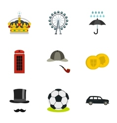 Holiday in united kingdom icons set flat style vector