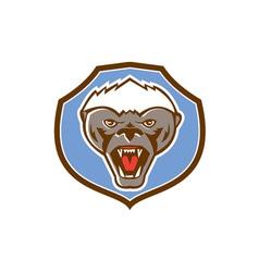Honey badger mascot head shield retro vector