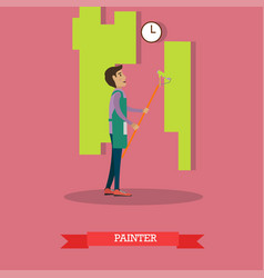 house painter painting wall vector image