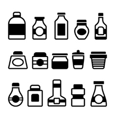 Jar Icons Set Black Silhouette on White Background vector image vector image