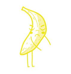 Kawaii cute angry banana fruit vector