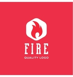 Logo sign flame fire quality flat style icon vector image vector image
