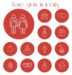 Love story in icons vector
