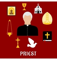 Priest and religious flat icons or symbols vector