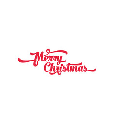 red text on a white background merry christmas vector image vector image