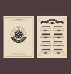 Restaurant logo and menu design brochure vector