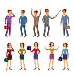 set characters design office team man women vector image vector image