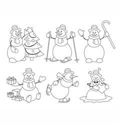 set of cartoon snowman sketch vector image vector image
