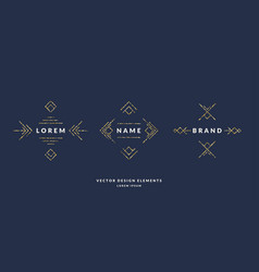 Set of modern geometric framework for text of gold vector