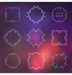 Set of various outline frames and badges on vector image vector image