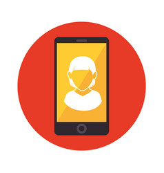 Smartphone with person avatar vector