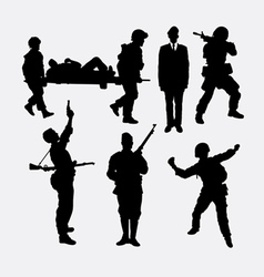 Soldier army and police silhouette 5 vector image