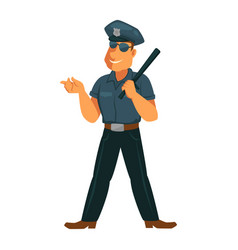 Strong policeman in good mood isolated on white vector