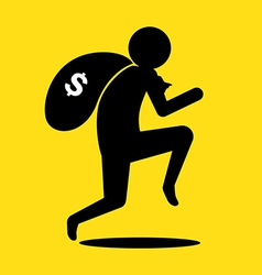 Thief run with bag of money vector image vector image