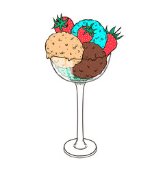 three scoops of ice cream with strawberry in a vector image vector image