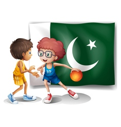 The flag of Pakistan and the basketball players vector image