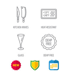kitchen knives glass and heat-resistant icons vector image