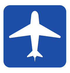 Blue white information sign - airliner icon vector
