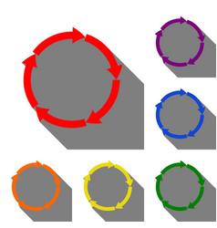cirkular arrows sign set of red orange yellow vector image