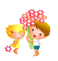 Boy and girl with flowers vector
