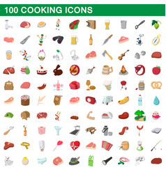 100 cooking icons set cartoon style vector image