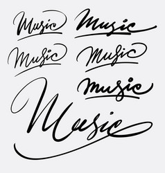 music hand written typography vector image