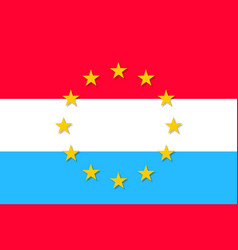 Luxembourg national flag with a star circle of eu vector