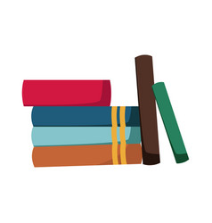 Stack of books collection library image vector