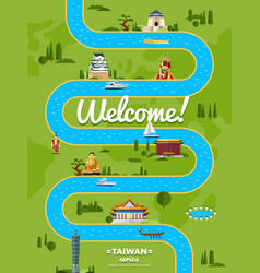 Welcome to taiwan poster with famous attractions vector
