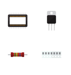 Flat icon appliance set of mainframe receiver vector
