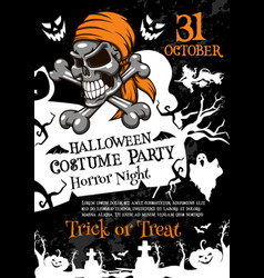 Halloween horror party poster with spooky skull vector