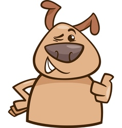 Winking dog cartoon vector