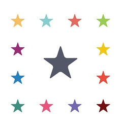 Star flat icons set vector
