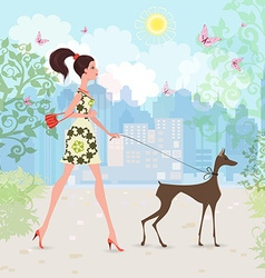 Lovely girl and her dog are walking in the city vector