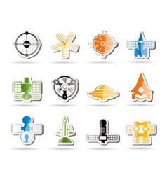 Future spacecraft icons vector
